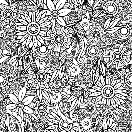 Modèle sans couture dessiné à la main avec des feuilles et des fleurs. Ornement floral de griffonnages. Éléments décoratifs en noir et blanc. Parfait pour le papier peint, les livres de coloriage pour adultes, l'arrière-plan de la page Web, les textures de surface.