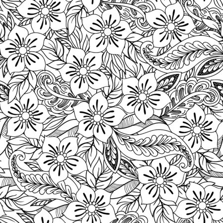 Hand drawn seamless pattern with leaves and flowers. Doodles floral ornament. Black and white decorative elements. Perfect for wallpaper, adult coloring books, web page background, surface textures.