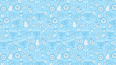 Hanukkah blue background with holiday candles, dreidels, Hebrew letters and David stars. Vector illustration for Jewish Festival of light. Ilustracja