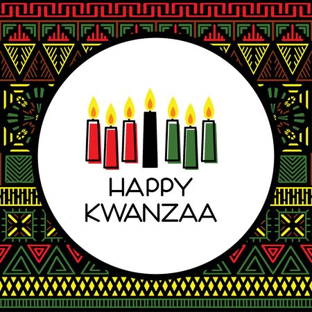 Happy Kwanzaa. Greeting card with traditional colored candles. Vector illustration 向量圖像