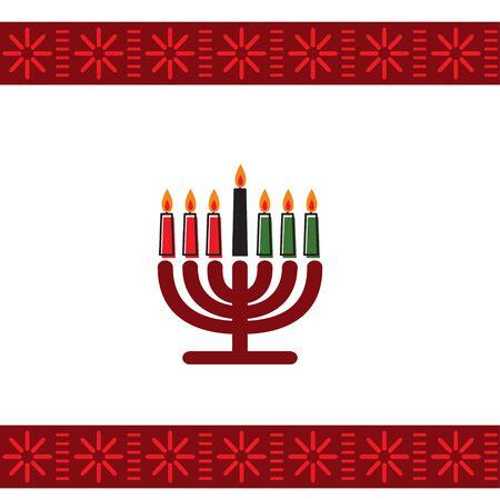 Kwanzaa holidays vector illustration. Greeting card with kinara and traditional colored candles