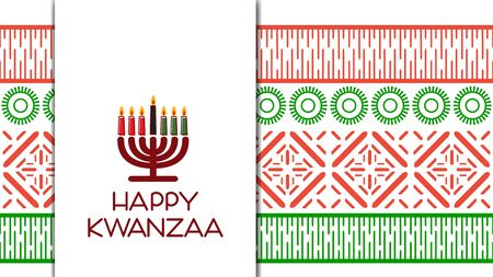 Happy Kwanzaa. Greeting card with kinara and traditional colored candles. Vector illustration