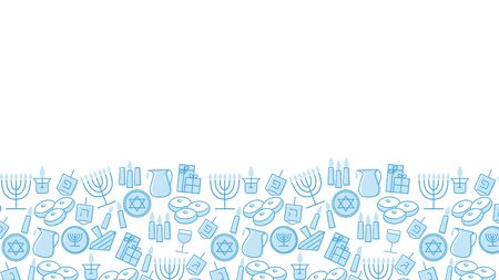 Hanukkah blue background with copy space. Jewish Festival of light. Vector illustration with holiday candles, dreidels, Hebrew letters and David stars.