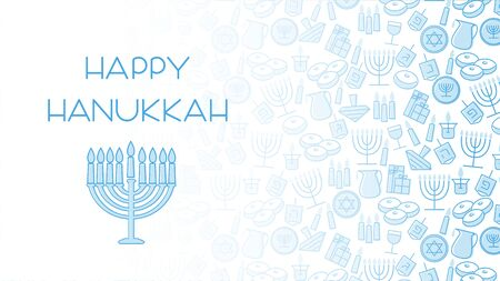 Hanukkah blue background with holiday candles, dreidels, Hebrew letters and David stars. Vector illustration for Jewish Festival of light. 向量圖像