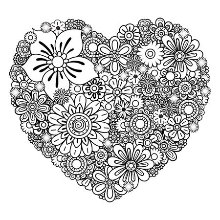 Floral heart. Valentines day adult coloring page. Vector illustration. Isolated on white background 向量圖像