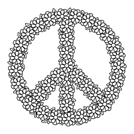 Floral peace symbol. Coloring page for adult coloring book. Hand drawn doodle style. Vector illustration. Isolated on white background. 向量圖像