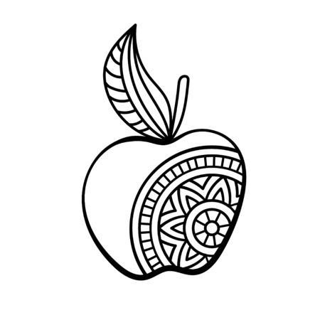 Apple with mandala. Coloring page for adult and older children. Hand drawn vector illustration