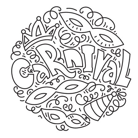 Carnival card design with masquerade masks, crown and jester hat. Black and white hand drawn vector illustration. Circle composition in line art style.