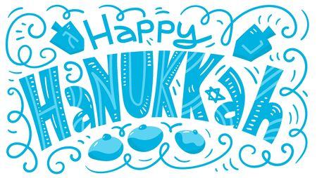 Hanukkah background. Holiday symbols: donuts and dreidels. Greeting card template design. Happy Hanukkah. Vector illustration hand drawn doodles style.