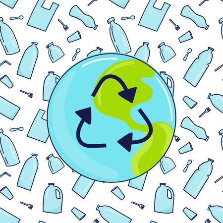 Restrictive sign, earth plante and plastic garbage on background. Eco problem banner. Vector illustration. Save the Earth concept