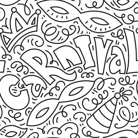 Carnival seamles pattern background with masquerade masks, crown and jester hat..Black and white hand drawn vector illustration. Doodle style.