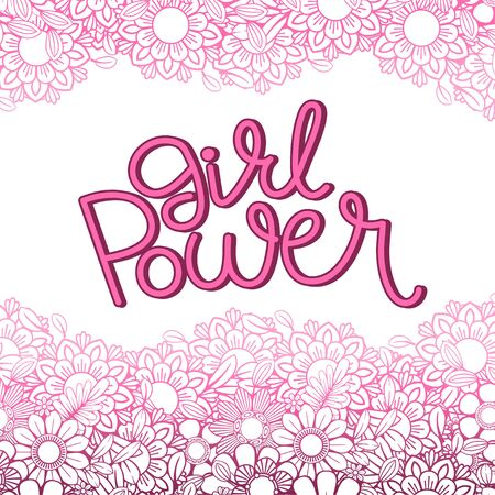 Girl Power hand drawn lettering. Feminism quote and woman motivational slogan. Isolated on white background. Vector illustration. Perfect for prints, t-shirts, cards and posters
