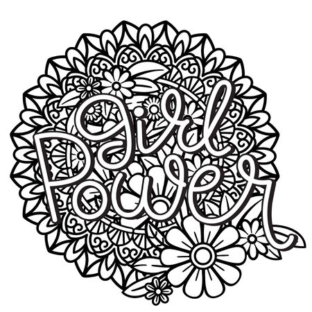 Girl Power hand drawn lettering. Feminism quote and woman motivational slogan. Isolated on white background. Black and white vector illustration. Perfect for coloring page