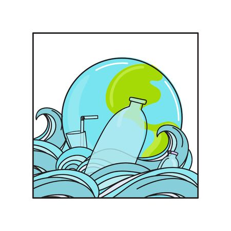 Protect ocean concept. Plastic garbage, bag, bottle, plastic conteners, straws and cutleryin the ocean. Eco problem banner. Vector illustration
