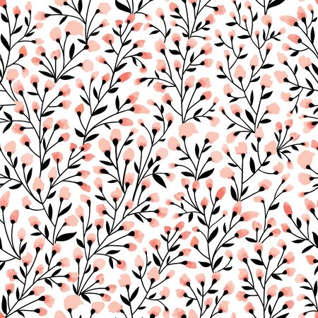 Floral seamless pattern design. Branch with small flowers and leaves. Hand drawn doodle flowers. Vector illustration.