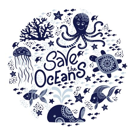 Save the ocean hand drawn lettering and underwater animals. Jellyfishes, whales, octopus, starfishes and turtles. Vector illustration in doodle style. Protect ocean concept