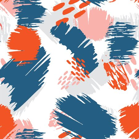 Abstract grunge seamless pattern with shapes, lines, spots, dots. Dirty art background texture. Vector illustration
