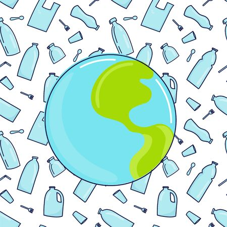 Earth planet and plastic garbage, bottle, cutlery, plastic conteners, straws, cutlery, disposable dish on background. Hand drawn doodle style. Save the Earth concept.