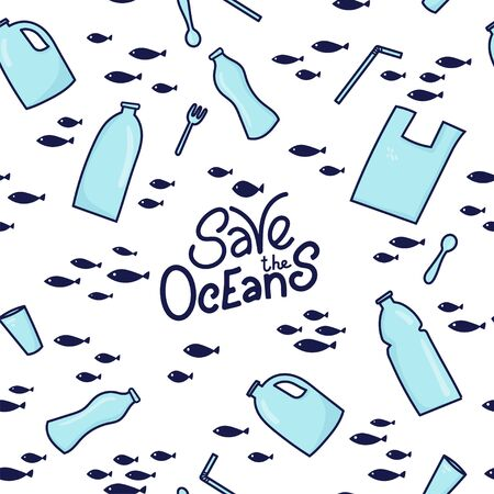 Save the ocean hand drawn lettering. Seamless pattern background. Plastic garbage (bag, bottle, cutlery) in the ocean graphic design. Vector illustration in doodle style. Protect ocean concept