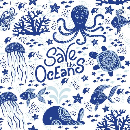 Save the ocean hand drawn lettering and underwater animals. Jellyfishes, whales, octopus, starfishes and turtles. Seamless pattern background. Vector illustration doodle style. Protect ocean concept 向量圖像