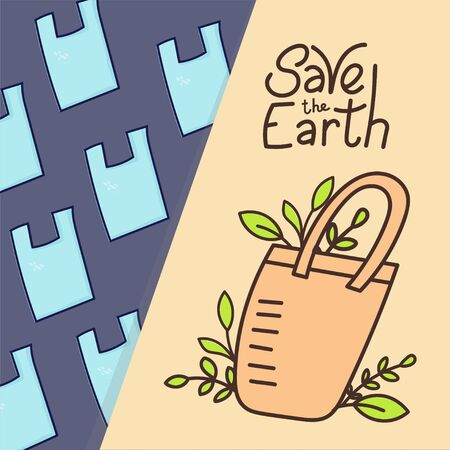 Eco bag and plastic garbage on background. Hand drawn doodles style. Eco style. No plastic. Zero waste concept illustration. Save the Earth motivating phrase