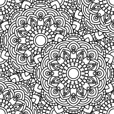 Mandala ethnic seamless pattern. Adult coloring page. Black and white repeat pattern background. Vector illustration.