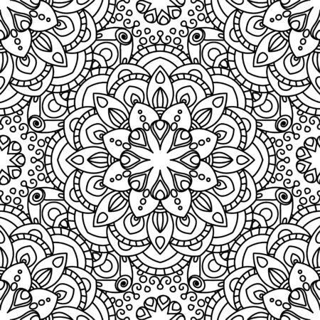 Mandala ethnic seamless pattern. Adult coloring page. Black and white repeat pattern background. Vector illustration. 版權商用圖片 - 143944745
