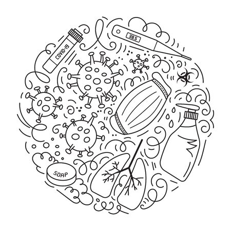 Novel Coronavirus 2019-nCoV vector doodles illustration. Round design with hand drawn elements such quarantine sign, respirator mask, blood test, hand sanitizer gel, thermometer, soap and more.