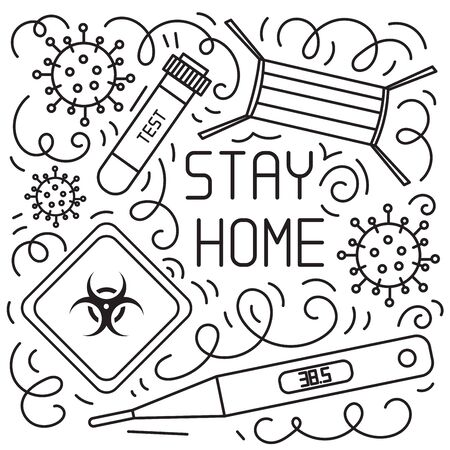 Concept of coronavirus quarantine. Hand drawn vector doodles elements such quarantine sign, respirator mask, hand sanitizer gel, blood test, thermometer and more. Coronavirus campaign to stay home