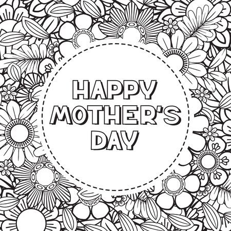 Happy Mothers Day coloring page for adult coloring book. Black and white vector illustration. Isolated on white background 向量圖像