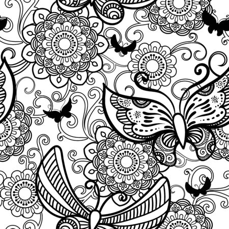 Hand drawn flowers and butterfly seamless pattern. Black and white vector illustration in doodles style. Isolated on white background. Coloring book page.