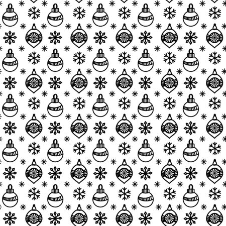 Seamless pattern with christmas balls and snowflakes. Hand drawn doodle style. Black and white vector illustration. Isolated on white background. Perfect for wrapping paper and coloring pages