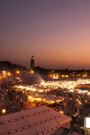 Marrakech, Morocco - DJemaa el Fna square  Masterpieces of the Oral and Intangible Heritage of Humanity   at sunset
