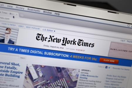 The New York Times  NYT  is an American daily newspaper founded and continuously published in New York City since 1851  The New York Times has won 108 Pulitzer Prizes, more than any other news organization  3  4  Its website is the most popular American o Stock Photo - 15004617
