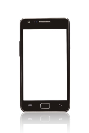 A front view of a Smart Phone displaying a blank white screen Stock Photo - 15513023