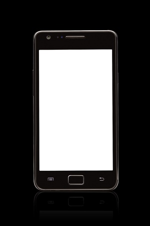 A front view of a Smart Phone displaying a blank white screen  Stock Photo
