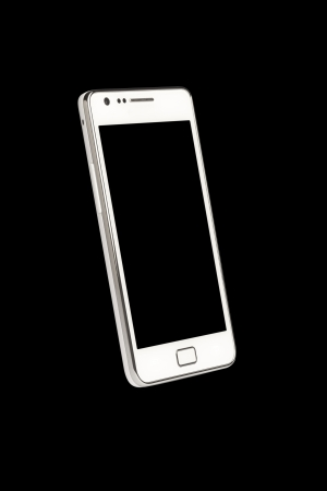 A front view of a Smart Phone displaying a blank black screen  Stock Photo - 15513013