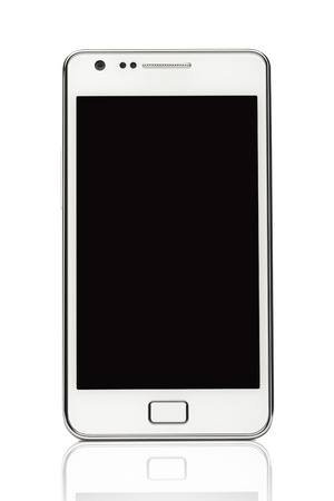 A front view of a Smart Phone displaying a blank black screen