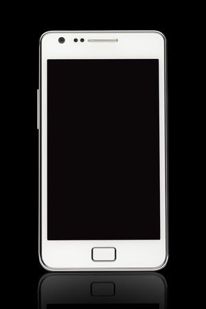 A front view of a Smart Phone displaying a blank black screen Stock Photo - 15513014