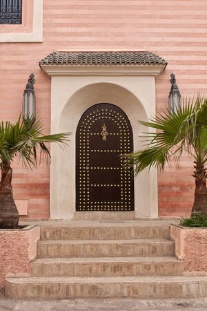 Door of a church in the Souk in Marrakech, Morocco.
