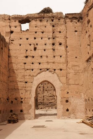 Ancient ruins of the El Badi Palace in Marrakech, Morocco. Stock Photo