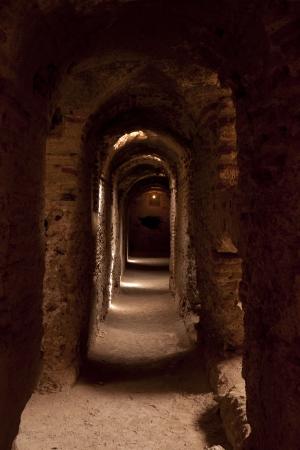 Interior corridors of El Badi Palace in Marrakech, Morocco. Stock Photo