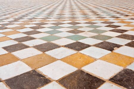 Texture of the floor in the El Badi Palace in Marrakech, Morocco