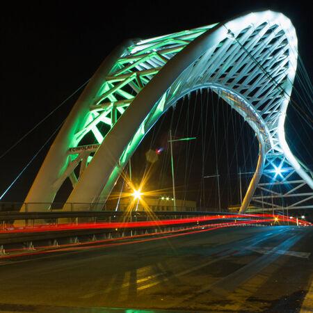 night vision: Night vision light trail Ostiense Bridge Rome