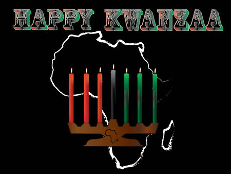 kwanzaa: An Happy Kwanzaa illustration,simple but high-impact, Africa background and the symbol of kwanzaa foreground