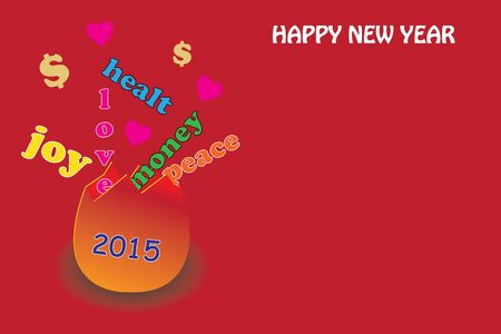come to en egg joy, love, peace, money, health.happy new year