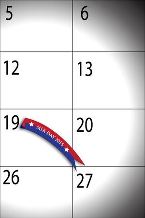 martin: Ilustracja kalendarza, Martin Luther King Day 2015 z dnia 19 stycznia.