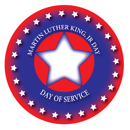 icon for the day of service, martin luther king, jr day. blue, red and white.