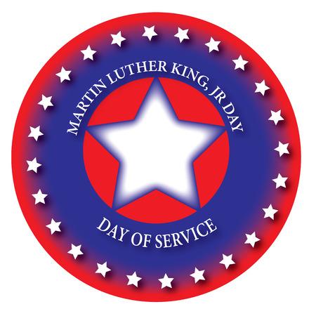 martin: Ikona dzień służby, Martin Luther King, jr dnia. niebieski, czerwony i biały.