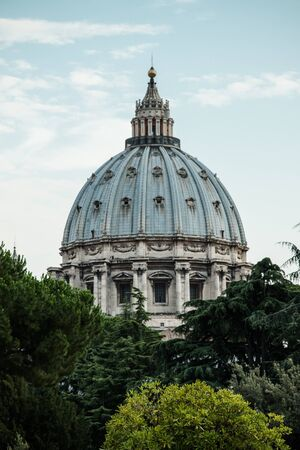 close-up view of the dome of St. Peter through the trees of the Vatican Museums